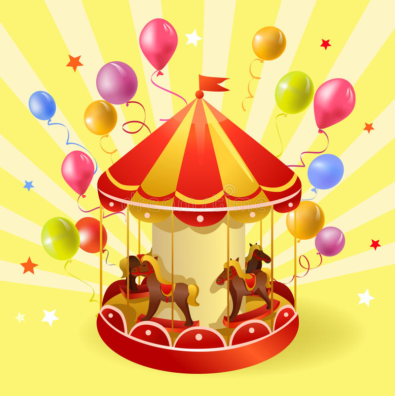Feestelijke carrousel met ballen royalty-vrije illustratie