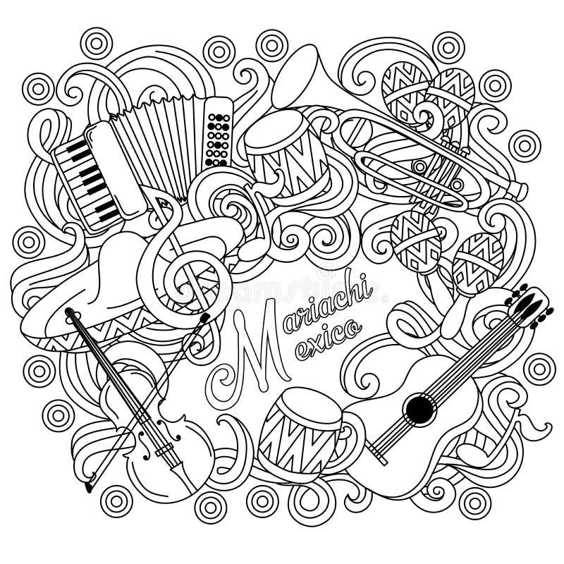 Feestelijke de schetsachtergrond van Mariachimexico vector illustratie