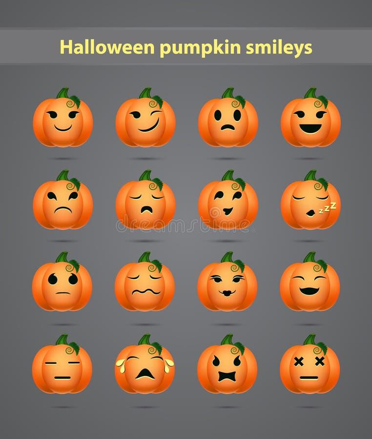 Feestelijke Halloween-pompoen emoticons stock illustratie