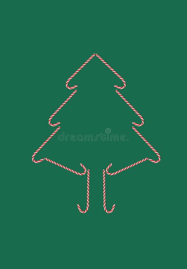 Feestelijke het suikergoed groene achtergrond van de kerstboomprentbriefkaar vector illustratie