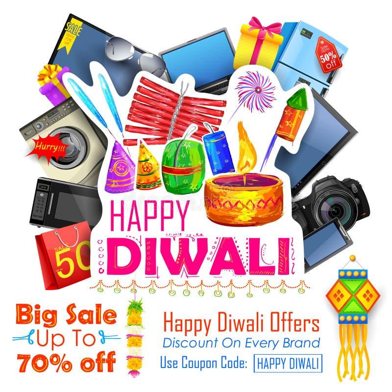 Feestelijke het Winkelen Aanbieding voor Diwali-vakantiebevordering en reclame royalty-vrije illustratie