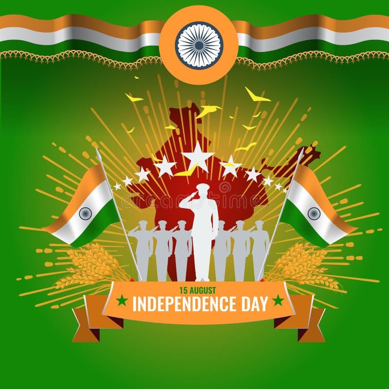 Feestelijke illustratie van onafhankelijkheidsdag in de viering van India op 15 Augustus vectorontwerpelementen van de nationale  vector illustratie