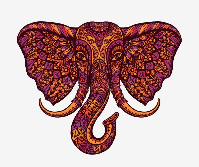 Feestelijke Indische olifant Etnische patronen Vector illustratie vector illustratie
