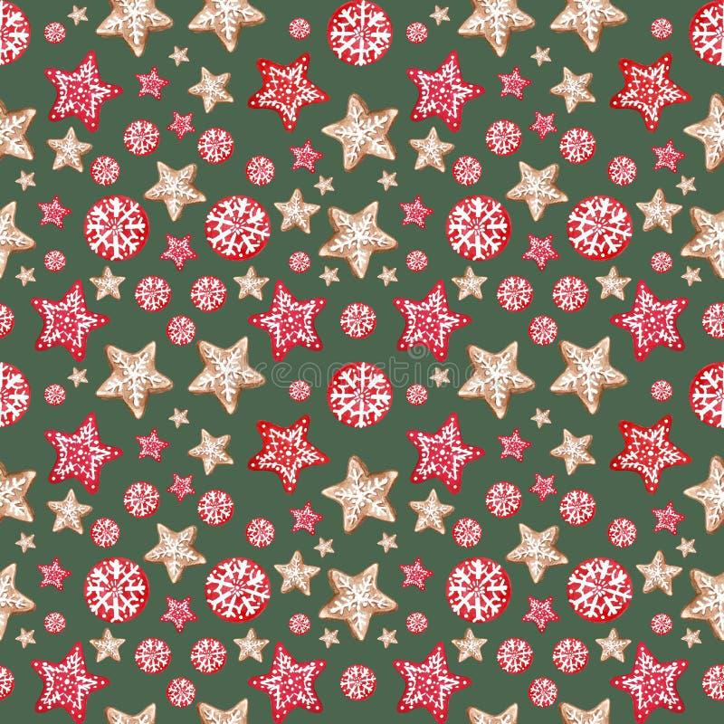 Feestelijke Kerstmis en Nieuwjarenachtergrond Naadloos patroon met peperkoekornamenten in Skandinavische stijl royalty-vrije illustratie