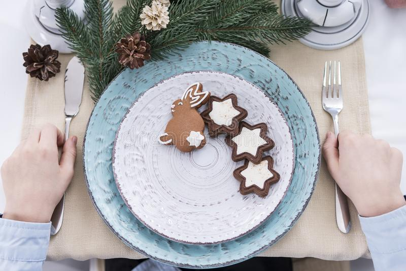 Feestelijke Kerstmismaaltijd stock fotografie
