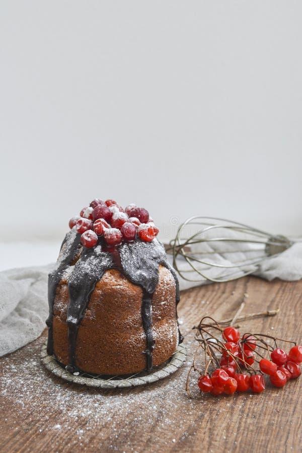 Feestelijke kleine cake met chocolade en bessen stock foto