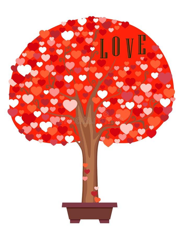 Feestelijke kleurrijke boom van harten Vlakke vectorbeeldverhaalillustratie vector illustratie