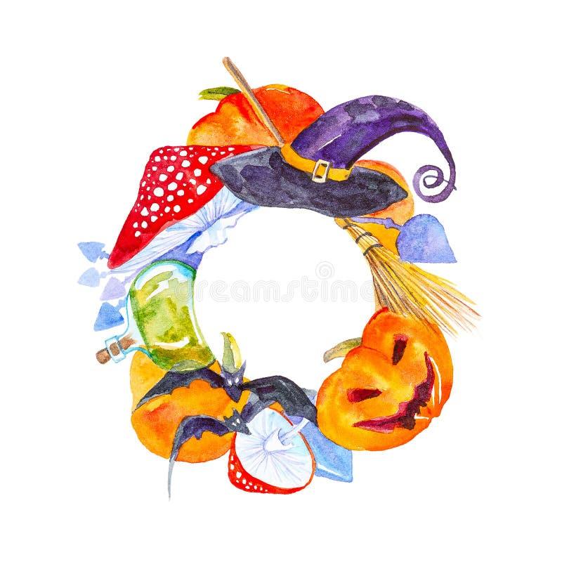 Feestelijke kroon voor Halloween-pompoen, vliegplaatzwam, bezem, knuppels, magische hoed en drankjefles Waterverfillustratie op w stock foto