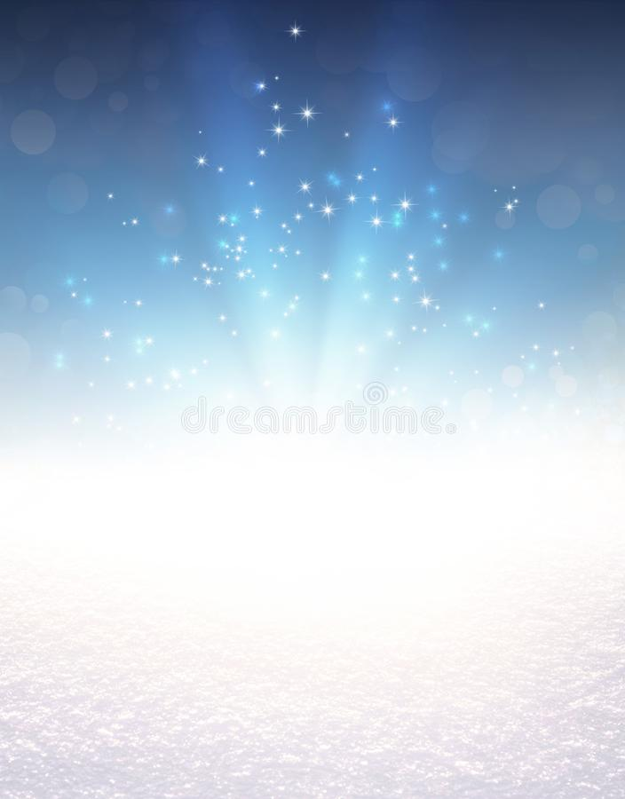 Feestelijke lichte explosie op sneeuw stock foto's