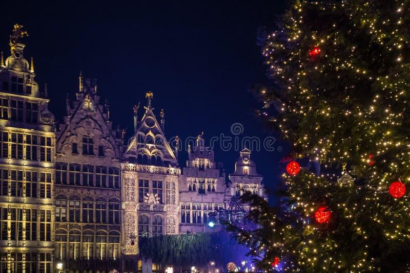 Feestelijke lichten en Kerstmisboom op het belangrijkste vierkant van Antwerpen royalty-vrije stock afbeeldingen
