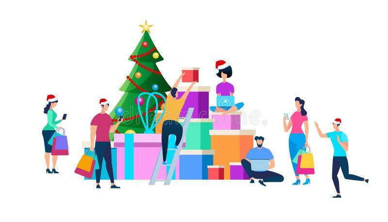 Feestelijke Mensen die voor Kerstmisviering voorbereidingen treffen royalty-vrije illustratie