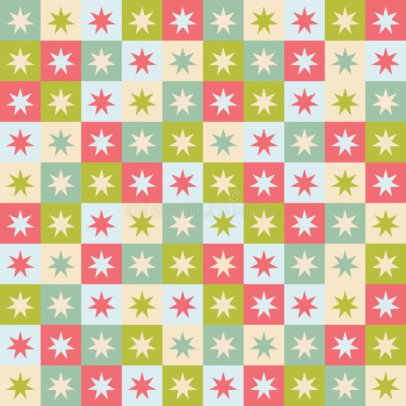 Feestelijke naadloos herhaalt patroon van geometrische vierkanten en sterren Een Kerstmis vectorontwerp in groen, rood en room stock illustratie