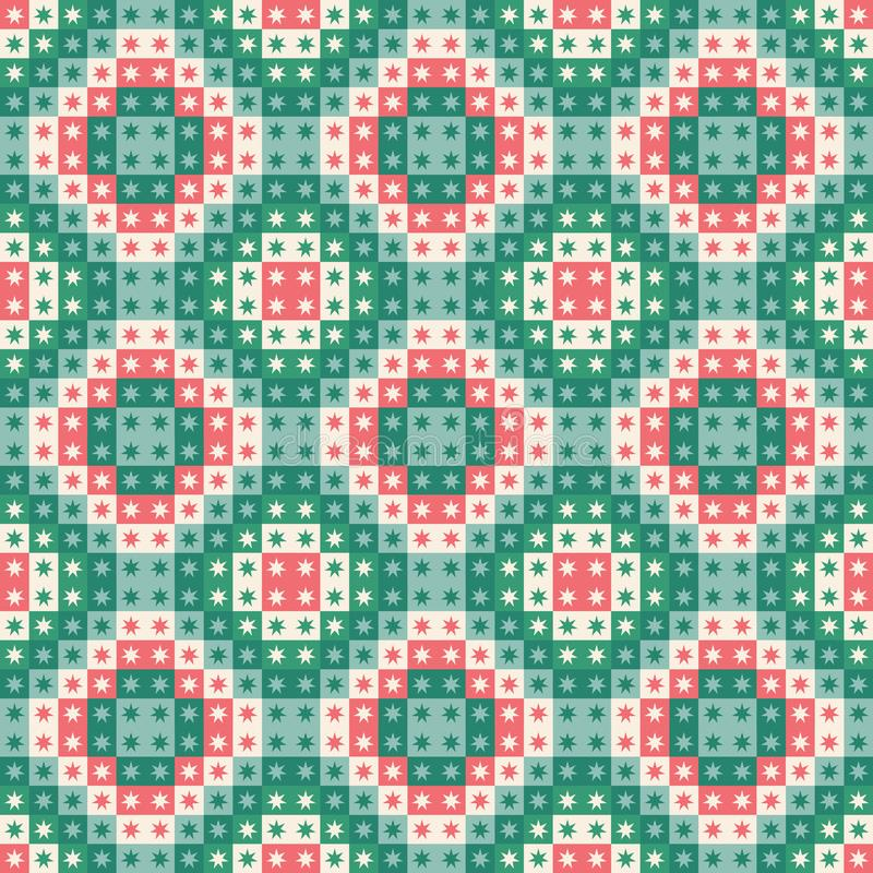 Feestelijke naadloos herhaalt patroon van geometrische vierkanten en sterren Een Kerstmis vectorontwerp in groen en rood vector illustratie