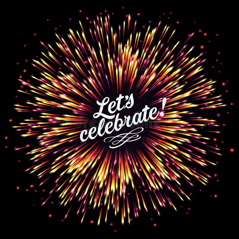 Feestelijke Nieuwjaar` s begroeting Een flits van vuurwerk op een donkere achtergrond Een heldere uitbarsting van feestelijke lic royalty-vrije illustratie
