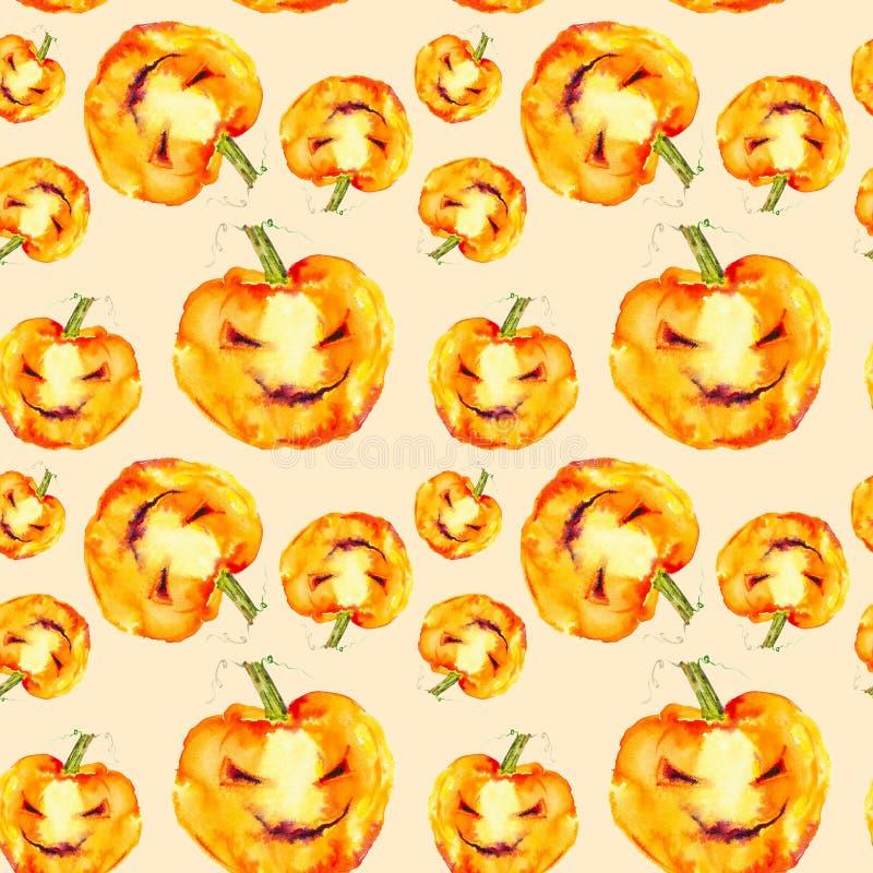 Feestelijke pompoenglimlachen op Halloween-vakantie Waterverfillustratie op gele achtergrond wordt ge?soleerd die Naadloos patroo vector illustratie