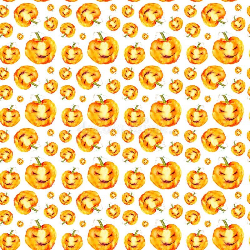 Feestelijke pompoenglimlachen op Halloween-vakantie Waterverfillustratie op witte achtergrond wordt ge?soleerd die Naadloos patro stock illustratie