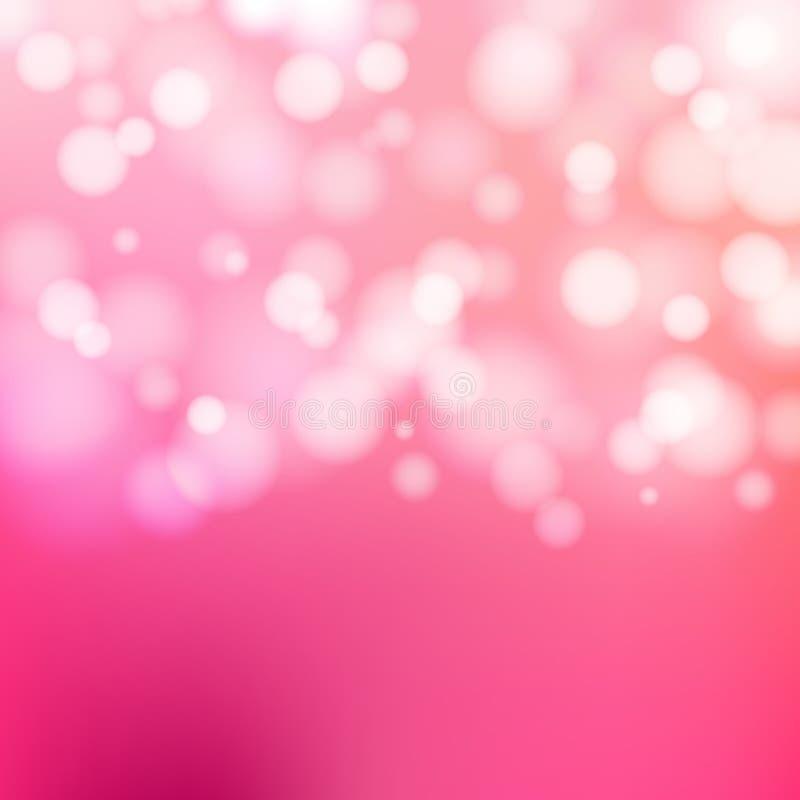Feestelijke roze achtergrond van Bokeh de zilveren en witte Fonkelende Lichten vector illustratie