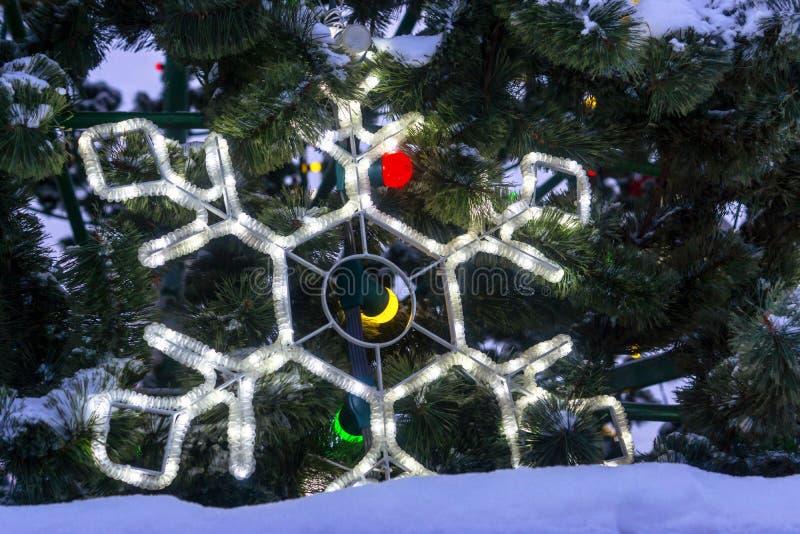 Feestelijke sneeuwvlok op achtergrond van sneeuwtakken van Kerstboom royalty-vrije stock foto's