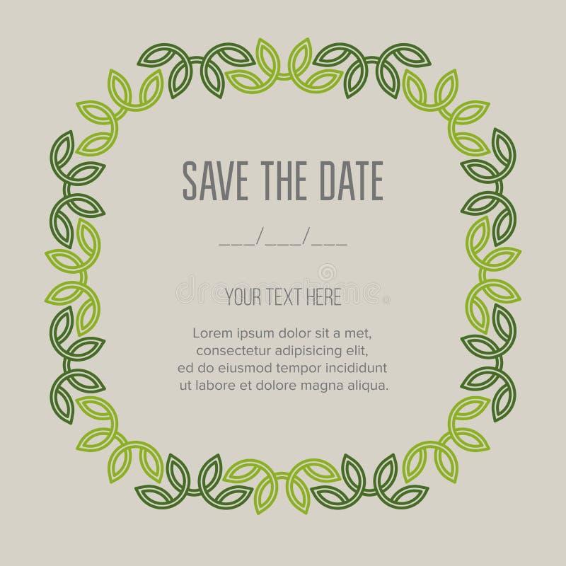Feestelijke uitnodigingskaart met lineair vergankelijk kader royalty-vrije illustratie
