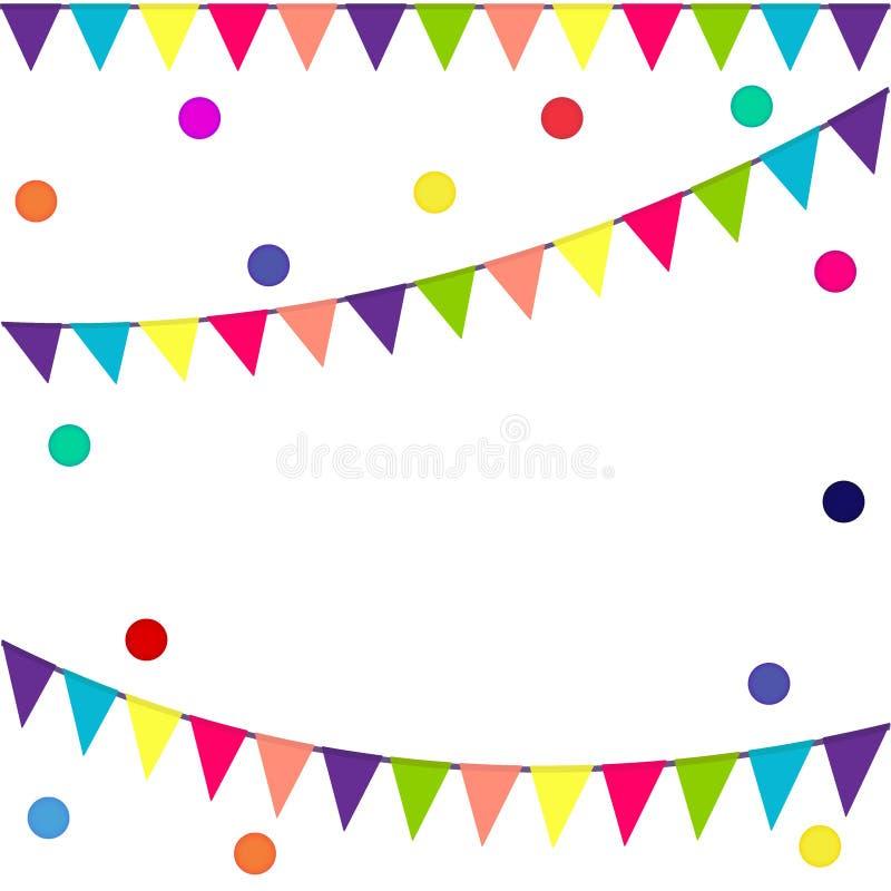 Feestelijke vlaggen en confettien Carnaval-partij Slinger van kleurenvlaggen en confettien Vakantieachtergrond, het malplaatje va royalty-vrije illustratie