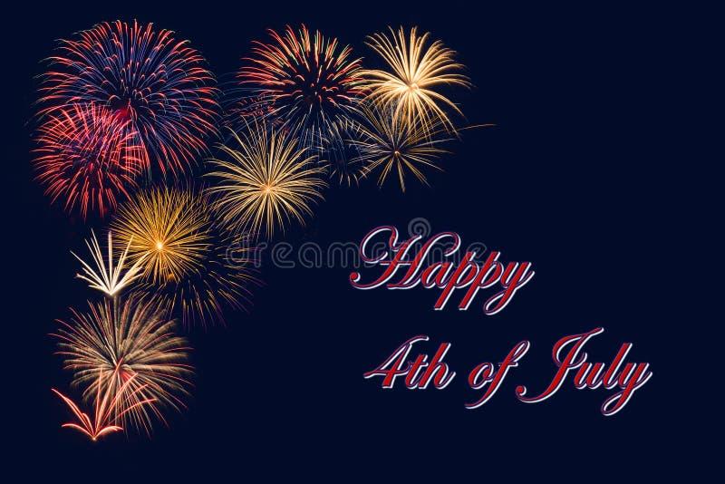 Feestelijke vuurwerkvertoning voor Gelukkige vierde van Juli-viering stock afbeelding