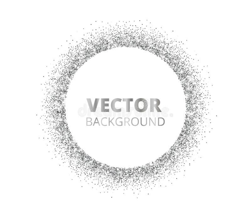 Feestelijke zilveren fonkelingsachtergrond Schitter grens, cirkel bevlekt kader Vectorstof, diamanten op wit royalty-vrije illustratie