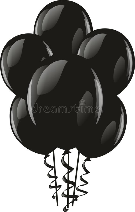Feestelijke zwarte ballons vector illustratie