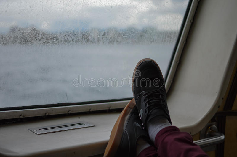 Feet on a boat royalty free stock images