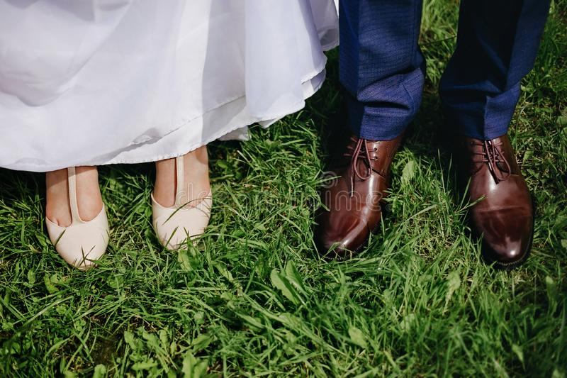 Shoes bride and groom royalty free stock images