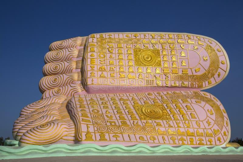 Symbolism - Feet of Buddha - Bago - Myanmar. The symbolism on the Feet of Buddha. On a reclining Buddha statue in Bago in Myanmar (Burma royalty free stock image