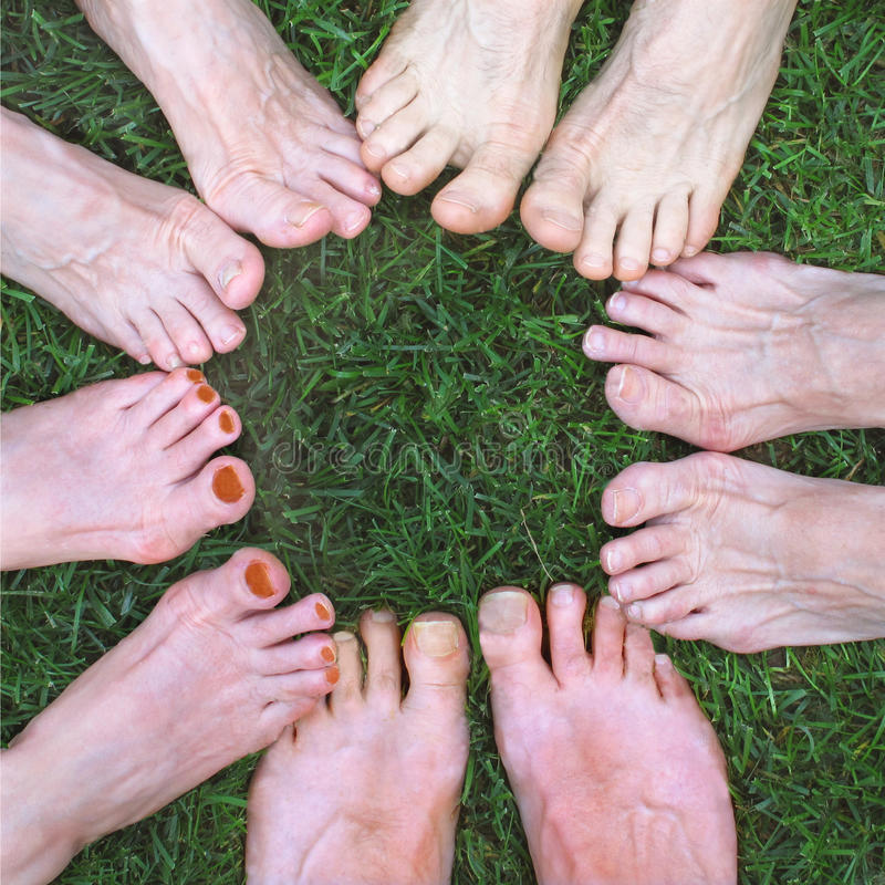 Feet in a circle. Five pairs of bare feet forming a circle on the grass stock image