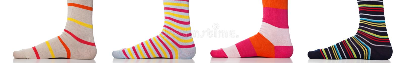 Feet close up wearing colorful socks royalty free stock image