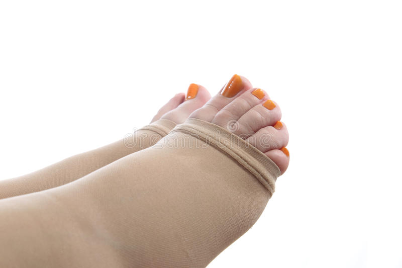 Download Feet With Compression Stocking Stock Image - Image of isolated, compressive: 25394339