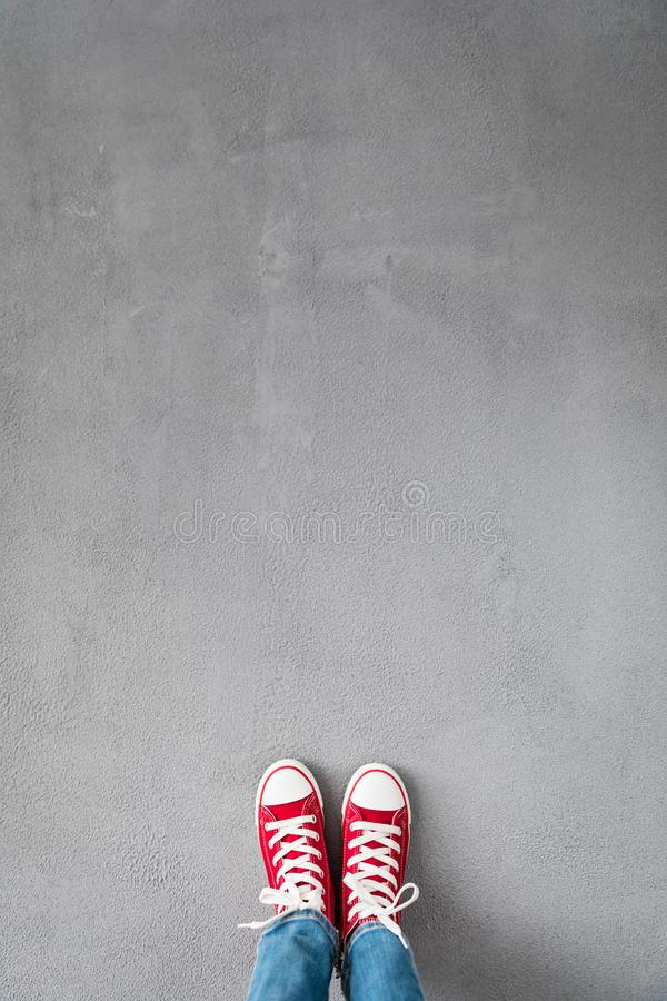 Feet on concrete background royalty free stock images