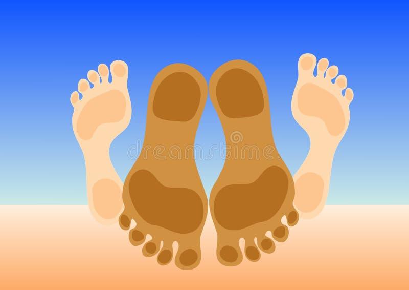 Feet of couple making love. On beach sand. Vector illustration stock illustration