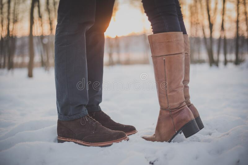 Feet Of Couple In Snow Free Public Domain Cc0 Image