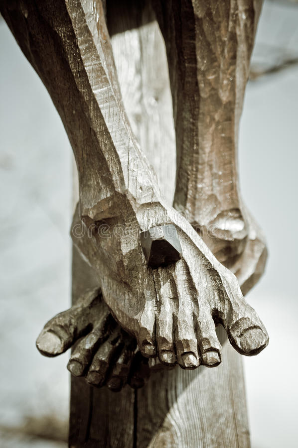 Feet On The Cross Royalty Free Stock Images