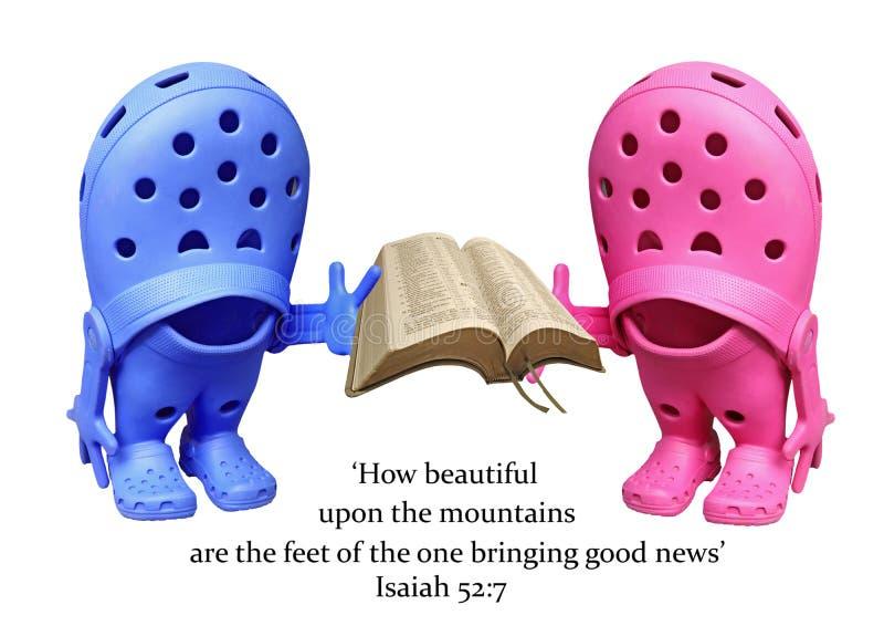 Feet declaring good news bible. Photo of a pair of shoes declaring good news from the bible..depicting spiritual light,bible education etc stock photo