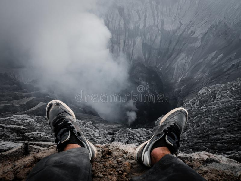 Edge of a volcano crater royalty free stock image
