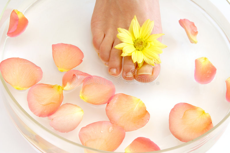 Feet and flowers royalty free stock image