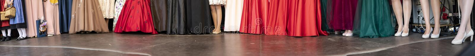 Feet of german wine princesses with local dress on stage stock image