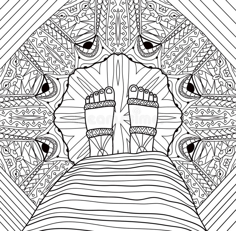 Feet girl in a dress and sandals is standing on a patterned floor. Coloring page for adults. Monochrome ink drawing with tribal patterns. Coloring page for vector illustration