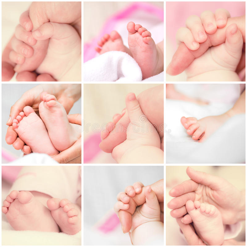 Feet and hands baby stock photography