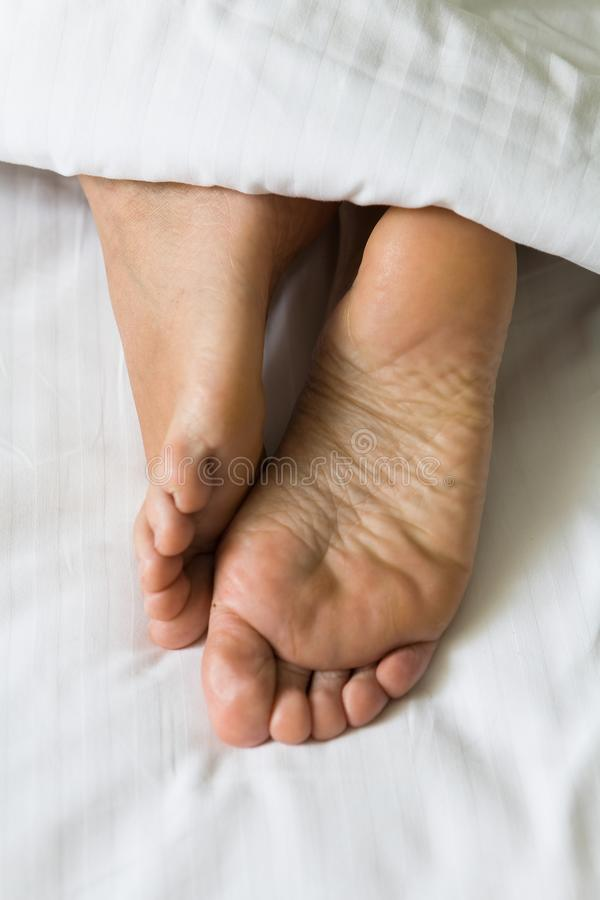 Feet of human legs protrude from under the blanket. stock photo