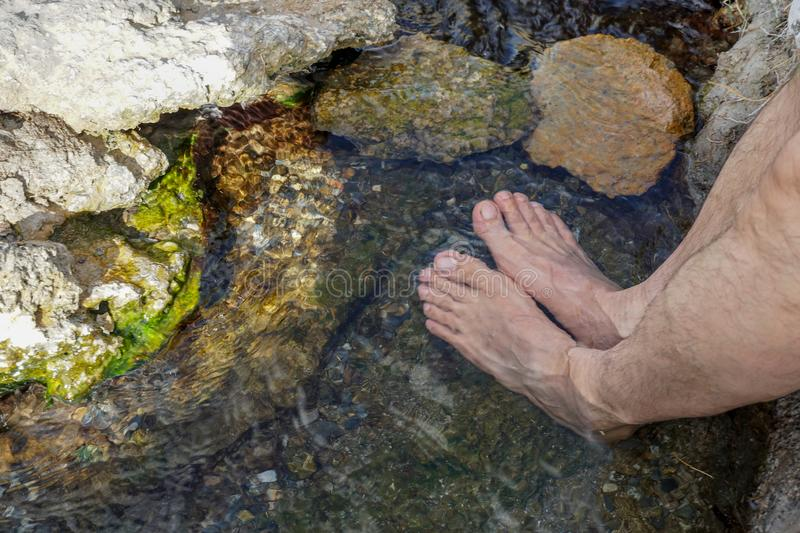 Feet immersed in the clear water of a river royalty free stock photos