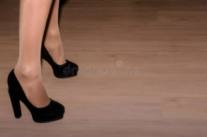 Feet ladies in stockings and shoes royalty free stock photos