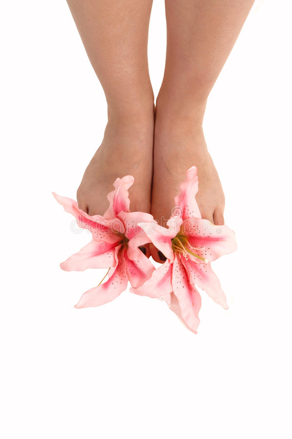 Feet with lilies.