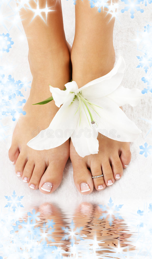 Download Feet With Madonna Lily And Water Stock Photo - Image: 6700502