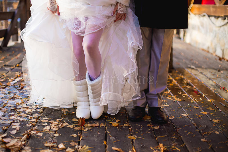 Feet newlywed royalty free stock images