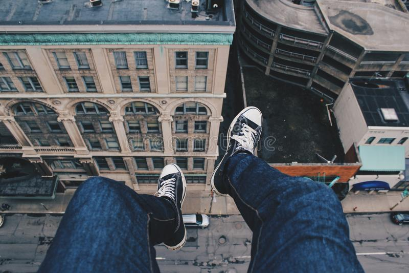 Feet Of Person On Edge Of High Building Free Public Domain Cc0 Image